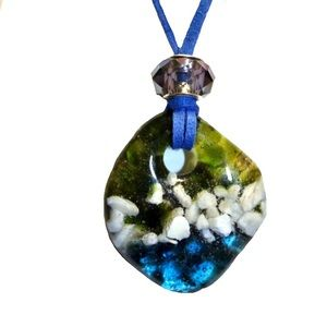 Handmade Glass Fused Pendant Necklace Blue & Green